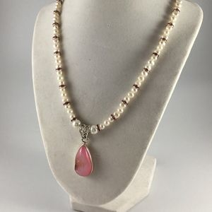 Freshwater Pearls with a Pink Druzy stone